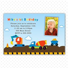Construction Invitation Boy Birthday Dump Truck Photo Card Printable Kids Party Custom