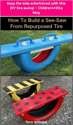 Keep The Kids Entertained With This DIY Tire Seesaw! — this can be a fun way to add some excitement to the playground area for the children. Taking old tires and turning them into something useful.Build a seesaw from a repurposed tire is part of DI