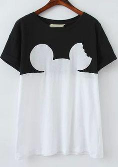 T-Shirt Kurzarm mit Mickey Kopf Print-schwarz und weiß 11.50