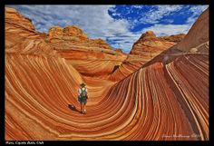 Arizona border between AZ and Utah.  The wave in Zion NATIONAL park