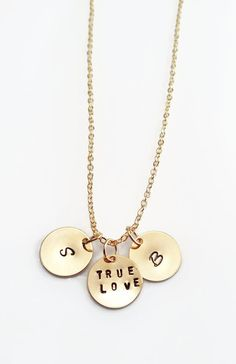 Golden Initials Necklace -  Handstamped on Gold Discs - Personalised Jewellery - Gold Plated Necklace - Valentine Gift #customchic #gifts