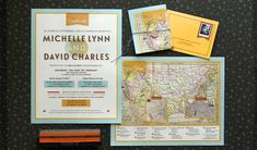 Wes Anderson inspired colors, vintage, large foldout map custom wedding invitation | Anticipate Invitations