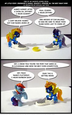 """The Wonderbolts scene from """"The Best Night Ever"""", as reenacted by MLP toys. Plus a pair of shoes stolen from a Ken doll. My Little Pony Poster, Mlp My Little Pony, My Little Pony Friendship, Best Night Ever, Mlp Comics, Ken Doll, Lps, Geek Stuff, Concept"""