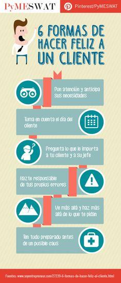 Hola: Una infografía con 6 formas de hacer feliz a un cliente. Un saludo
