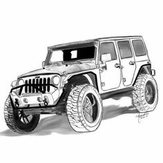 Auto Jeep, Jeep Cars, Jeep Jk, Car Design Sketch, Car Sketch, Car Seat And Stroller, Baby Car Seats, Jeep Drawing, Jeep Tattoo
