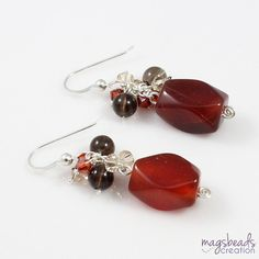 Carnelian Red Earrings Red Agate Earrings by magsbeadscreation