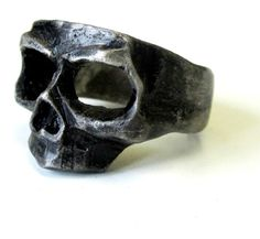 Oxidized Sterling Silver Skull Mask Ring hand made by lorgjewels, $200.00