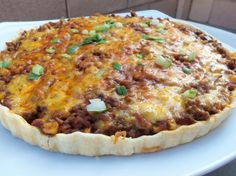 Cheeseburger Tart--A nice weekday meal. I made my own Sloppy Joe sauce and pie crust and topped the tart with sharp white cheddar Tart Recipes, My Recipes, Cooking Recipes, Favorite Recipes, I Love Food, Good Food, Yummy Food, Beef Dishes, Food Dishes