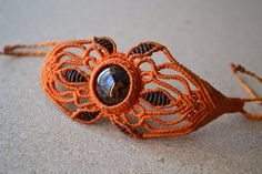 Orange Macrame Bracelet/ Black Brown Gemstone/ Macrame Jewelry/ Healing Stone/ Peruvian Jewelry/ Micromacrame