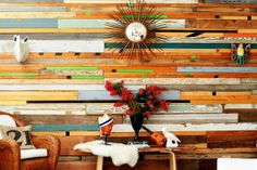 Reclaimed Wood Accent Wall - Created by Dallas based artist Sarah Reiss. It's made completely of reclaimed wood. Its made of gymnasium floors, bowling alley floors, shiplap and barn wood.  Isn't it spectacular?