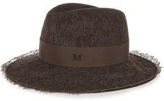Maison Michel Maion Michel - Henrietta Chantilly Lace And Rabbit-felt Fedora - Brown