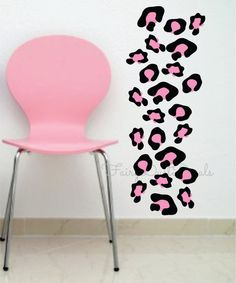 Gentil Leopard Print Wall Decals Black U0026 Pink   Or Choose Your Own Color  Combination