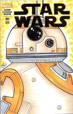 Star Wars #1 Blank Variant Cover BB8 Artwork by Artist Rodney Fyke