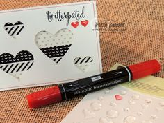 Colored heart epoxy stickers on Twitterpated heart Valentine card. Color with Stampin' Up! Blendabilities markers for custom colored stickers for your crafting projects! by Patty Bennett #stampinup #blendabilities