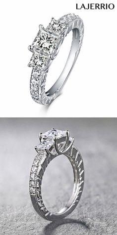 Lajerrio Cushion Cut S925 Silver White Sapphire 3-Stone Engagement Rings 500006A