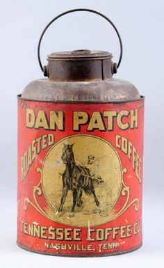 Dan Patch Coffee Tin Pail. : Lot 385 Racehorse after whom a street that's part of the MN state fair is named after