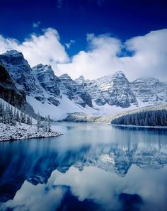 Autumn snowfall at Moraine Lake, Banff National Park, AB, Canada -- by Alan Majchrowicz Photography