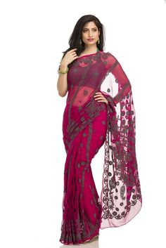 Ada Hand Embroidered Pink Faux Georgette Lucknow Chikan Saree With Blouse…