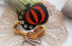 Hand painted wooden thread keeper black-orange PUMPKIN thread holder by xJudesign on Etsy