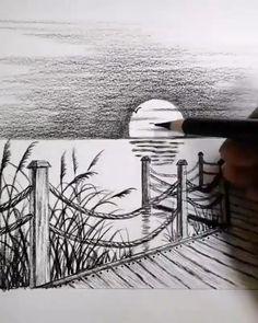 Art Drawings Beautiful, Art Drawings Sketches Simple, Pencil Art Drawings, Realistic Drawings, Pencil Sketches Landscape, Landscape Drawings, Diy Canvas Art, Painting & Drawing, Sketching