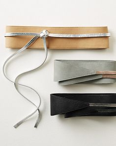 """Two-tone Eileen Fisher leather obi belts, as sold by Garnet Hill (on clearance, August 2013). Description says they're made in the U.S.A. of """"earth-conscious leather,"""" but don't give an explanation of that phrase. Belts are 2 3/4 inches at their widest sections."""