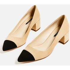 MID - HEEL SHOES WITH CONTRASTING TOE CAP-High-heels-SHOES-WOMAN |... ($34) ❤ liked on Polyvore featuring shoes, pumps, high heel court shoes, mid-heel shoes, mid-heel pumps, high heel pumps and high heeled footwear