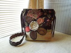 CROSSBODY HOBO BAG - Recycled Upholstery Fabric - Bohemian - Shabby Chic - Appliqued - Eco Friendly on Etsy, $63.00