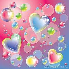 bright bubbles | Romantic background with bright color hearts and soap bubbles.