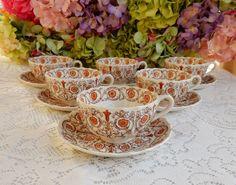 6 Beautiful Copeland Spode Cups & Saucers ~ Sorrento ~ Flowers Scrolls #CopelandSpode