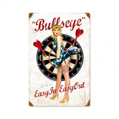 Bullseye Vintage Blonde Pin-Up Darts Plasma Cut Metal Sign by Ralph Burch