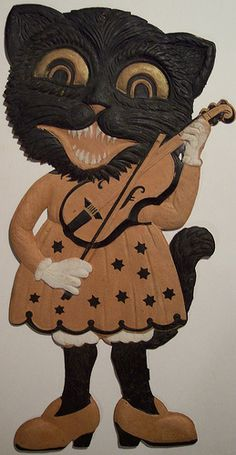 Vintage Halloween German Diecut Cat Lady with Violin !