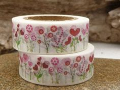 Heart Flowers Red and Pink Washi Tape  V by BellasBeadHabit, $2.95