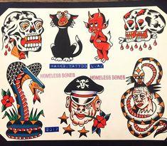 Traditional Tattoo Old School, Traditional Tattoo Design, Traditional Tattoos, Dragon Tattoo Back Piece, Dragon Sleeve Tattoos, Tattoo Flash Sheet, Tattoo Flash Art, Traditional Flash, American Traditional
