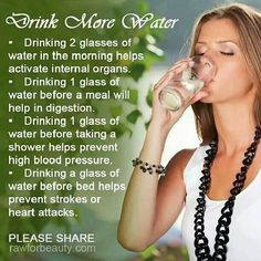 Water!  It does a body good!  Your body is made up of 70% water and REQUIRES an 8 oz glass for every 14-20 lbs of your weight.