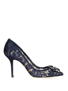 3c608b28fc2 DOLCE   GABBANA Crystal-Embellished Lace Pumps Navy Pumps