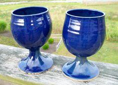 Wine Goblets Cobalt blue by claybythebay on Etsy, $32.00