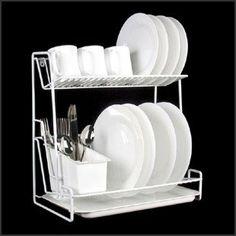 2 Tier White Plate Rack: Amazon.co.uk: Kitchen & Home
