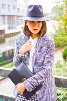 Silk and Suits - New Look blouse, jacket, skirt and hat, Russell and Bromley Aurora Clutch, Stuart Weitzman Highland Over the Knee Boots New Look Blouses, Russell & Bromley, Over The Knee Boots, Stuart Weitzman, Blazer, Silk, Hats, Aurora, Skirts