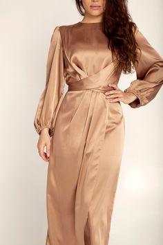 Julianna Satin Wrap Waist Maxi Dress - Caramel Modesty Fashion, Abaya Fashion, Muslim Fashion, Fashion Dresses, Women's Fashion, Hijab Evening Dress, Hijab Dress Party, Velvet Fashion, Mode Hijab