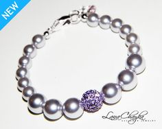 Wedding Flower Girl Gift Bracelet Swarovski Lavender Pearl Violet Crystal Ball Swarovski Light Amethyst Crystal Silver FREE US Shipping