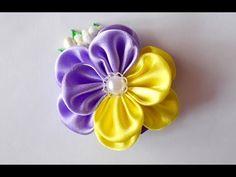 DIY Kanzashi.Канзаши мастер класс.Цветок с оригинальным лепестком - YouTube