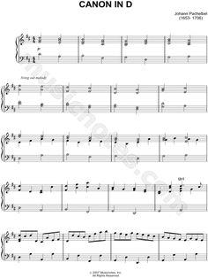 "Johann Pachelbel - ""Canon In D"" sheet music"
