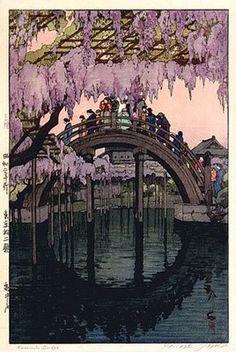 "Kameido Bridge ~ by Hiroshi Yoshida ~ Mik's Pics ""Japan l"" board Gravure Illustration, Illustration Art, Samurai, Hiroshi Yoshida, Art Occidental, Art Asiatique, Japanese Painting, Japan Art, Tokyo Japan"