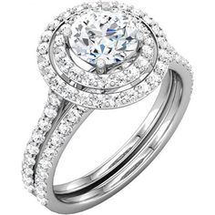 Beautiful and unique Halo wedding engagement ring and matching band with round brilliant cut diamond in 14k white gold - OUR PRICE: $1,569.99 - http://www.mybridalring.com/Rings/round-shape-matching-diamond-band/
