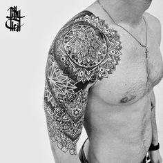Tribal Tattoos, Geometric Tattoos Men, Geometric Sleeve Tattoo, Full Sleeve Tattoos, Cover Tattoo, Arm Tattoo, New Tattoo Styles, Mandala Tattoo Design, Tattoo Designs