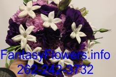 #Bridal colors are plum, grey and creme.  #handtied #floral #brides bouquet.  Available at Fantasy Flowers Thiensville (Delivery available in the Metro #milwaukee area. 262-242-3732  Ask for Nancy for your consultation