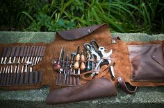 Metaleather: your leather tools belong in a lovely leather home.  Leather Tool Roll | Sweet Juniper WoodCraft