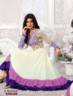 Colour: White & Purple Collection : KSD105 Top Fabric : Georgette Bottom Fabric : Santoon Innar Fabric : Santoon Dupatta Fabric : Nazneen Top Length : 55 (2 mtr) Bottom Length : (2.5 mtr) Dupatt Length : 2.25 mtr  Buy  at Just 1699/-