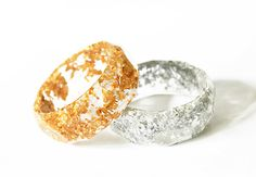 Beautiful Suspended Gold Leaf or Silver Leaf Honeycomb Resin Bangle Bracelet by cameokojewelry on Etsy