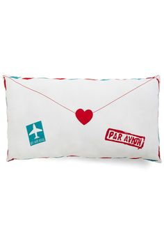 Flair Mail Pillow. You have a knack for creative correspondence, so this envelope-shaped pillow is a natural addition to your environment! #multi #wedding #modcloth